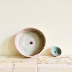dish with middle dot- tiny turquoise bowl