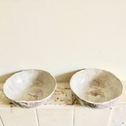 bowls with scratched seaweed