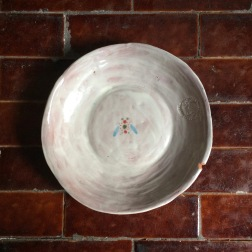 shallow bowl with insect