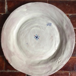 plate with blue dots